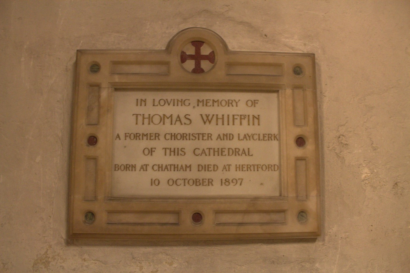 Memorial tablet, Rochester Cathedral